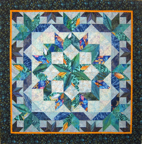 Undersea Quick Expanded Broken Star Quilt By Jan P Krentz