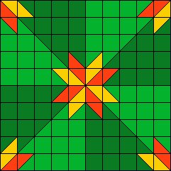 colorwash hunter star block - green, red, yellow
