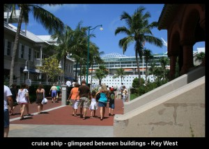 the cruise ship at the pier in Key West
