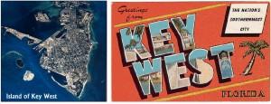 Key West Island and postcard