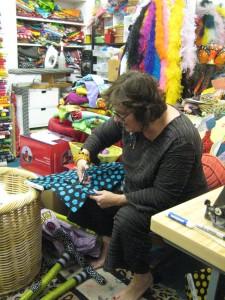 Artist Emily Owens at work