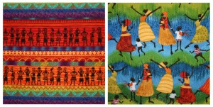 two fabrics for the Dancing African Ladies quilt