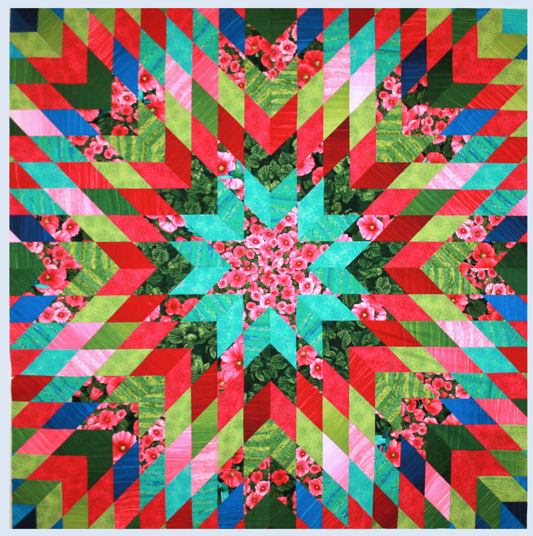 Hollyhock Garden Starburst Quilt by Jan Krentz