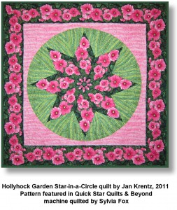 Hollyhock Garden Star-in-a-circle quilt