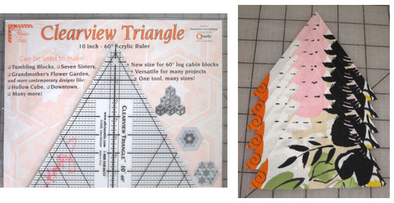 Clearview 60 triangle ruler, and pre-cut triangles