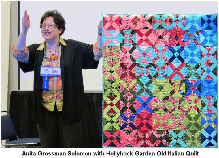 Anita Grossman Solomon with her Old Italian Quilt