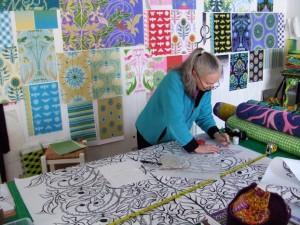 Jane Sassaman in the studio