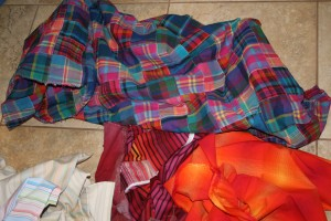 warm colored stripes and plaids - yardage