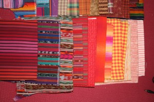 warm colored stripes and plaids